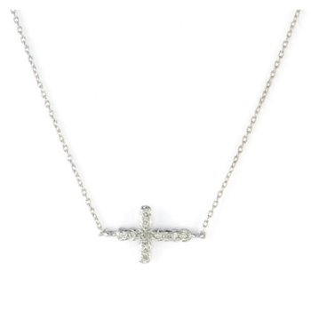Petite Pave Diamond Sideways Cross Necklace