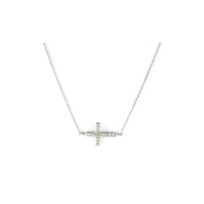 JudeFrances Petite Pave Diamond Sideways Cross Necklace