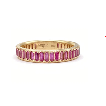 Pink Sapphire Baguette Ring