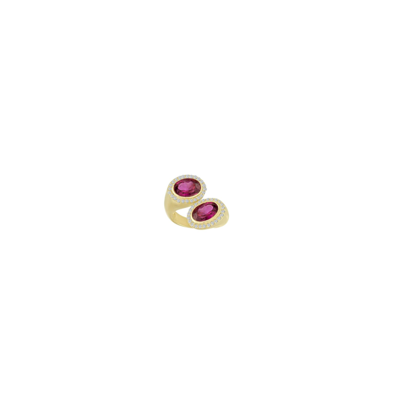 Eden Presley Pink Tourmaline and Diamond Bypass Statement Ring