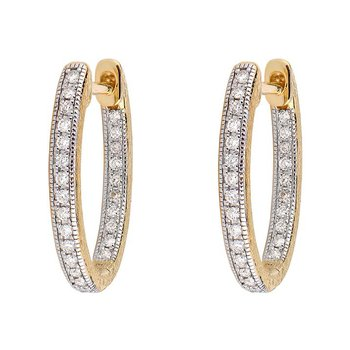 Small Oval Hoop Pave Diamond Earrings