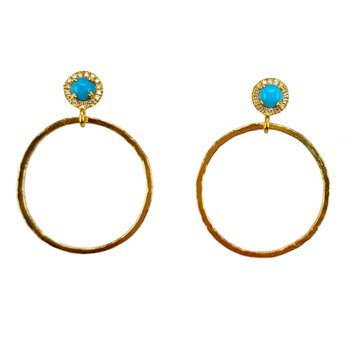 Open Circle Turquoise Earrings
