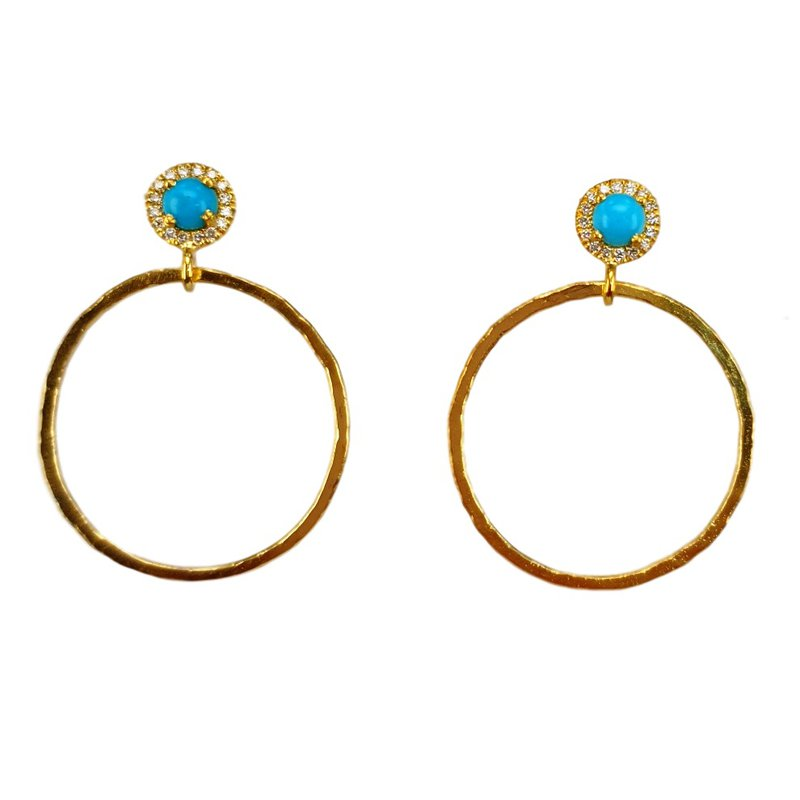 Marika Open Circle Turquoise Earrings