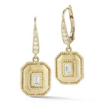 Bezel Set Emerald Diamond Drop Earrings