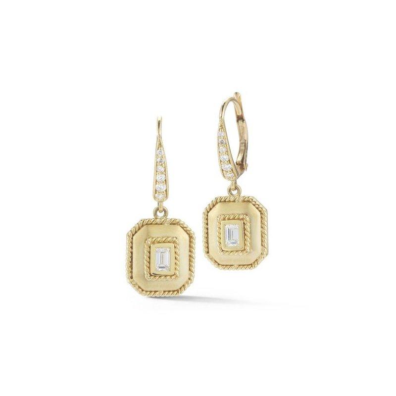 Penny Preville  Bezel Set Emerald Diamond Drop Earrings