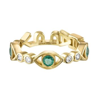 "Diamond and Emerald Eye ""HAPPY"" Tattoo Candy Ring"