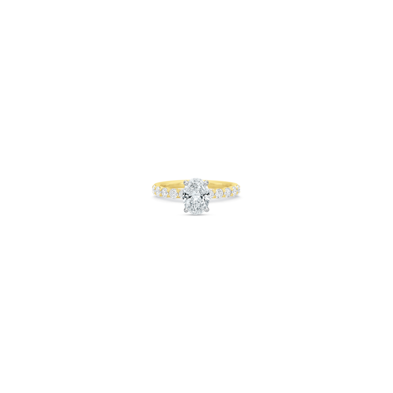 Precision Set 18K Yellow Gold Semi Mount for Oval