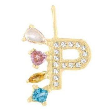 "Diamond ""Rock"" Pendant Initial ""P"""