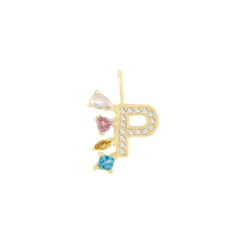 "Eden Presley Diamond ""Rock"" Pendant Initial ""P"""