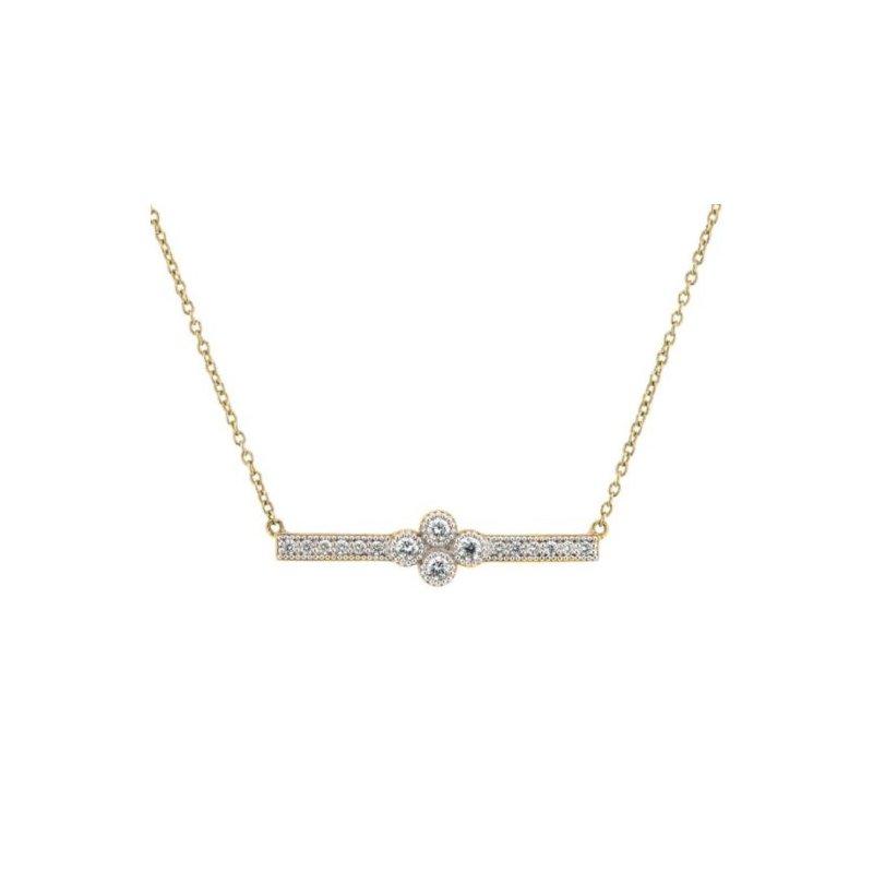 JudeFrances Provence Pave Diamond Bar Necklace