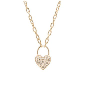 Pave Diamond Padlock Heart Charm Necklace