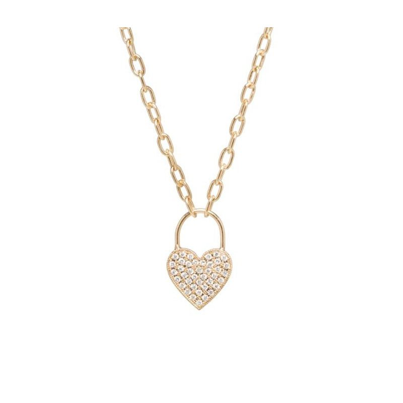 Zoë Chicco Pave Diamond Padlock Heart Charm Necklace