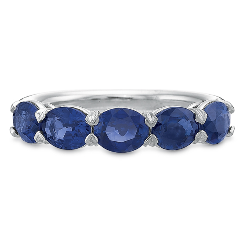 Precision Set 18K White Gold Oval Sapphire Band