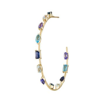 Blue and Purple Goddess Hoop Earrings