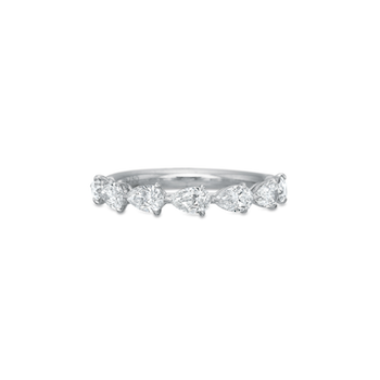 18K White Gold Pear Diamond Band