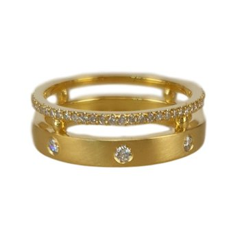 Two Row Brushed Diamond Ring