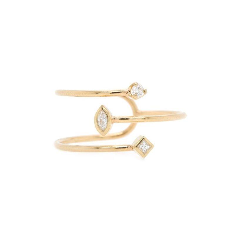 Zoë Chicco Three Band Overlap Bezel Set Diamond Ring