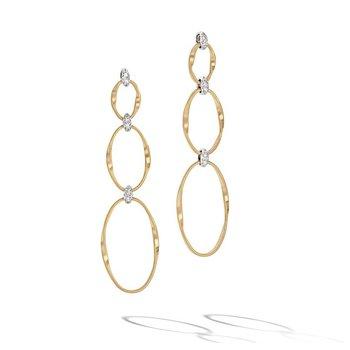 Marrakech Onde Twisted Flat Link Triple Drop Earrings with Brilliant Cut Diamonds