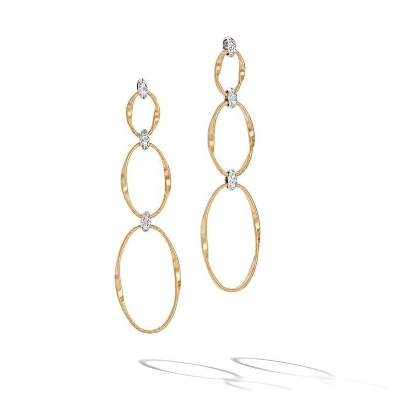 Marco Bicego Marrakech Onde Twisted Flat Link Triple Drop Earrings with Brilliant Cut Diamonds