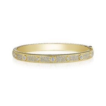 Diamond Bangle with Round and Square Bezel Diamonds