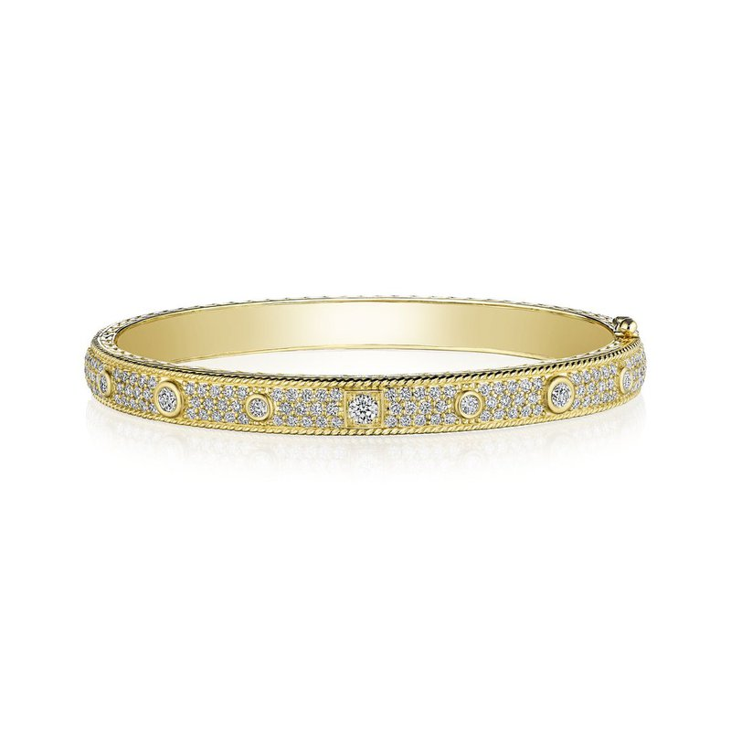 Penny Preville Diamond Bangle with Round and Square Bezel Diamonds