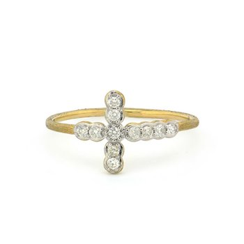 Petite Bezel Diamond Cross Band