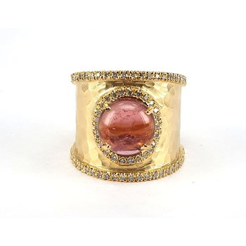 Round Pink Tourmaline & Diamond Ring