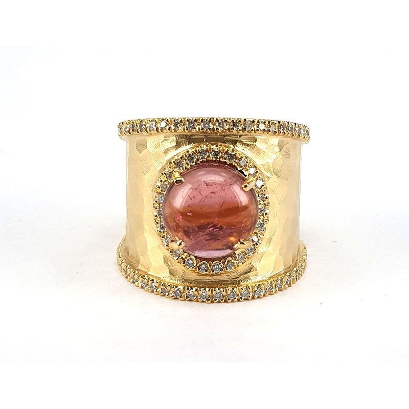 Marika Round Pink Tourmaline & Diamond Ring