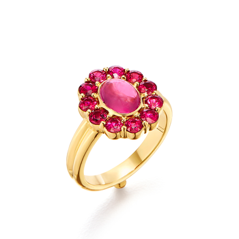 Hot Pink Tourmaline & Ruby Ring