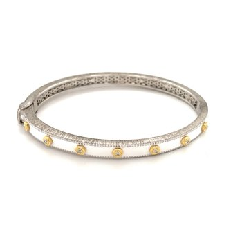 Mixed Metal White Ceramic Nail Head Bangle