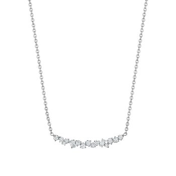 Curved Diamond Cluster Necklace