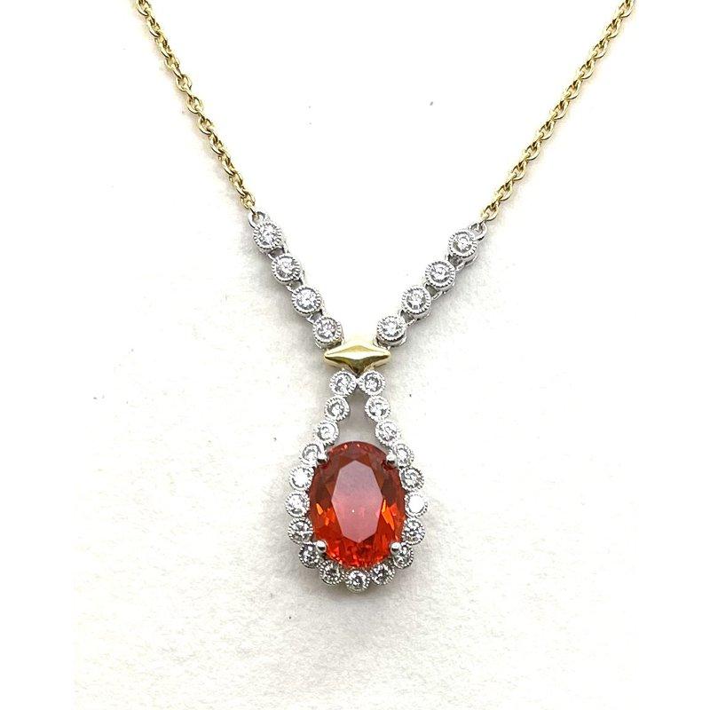 Spark Creations Fire Opal & Diamond pendant