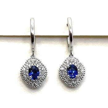 Sapphire & Diamond Drop Earrings