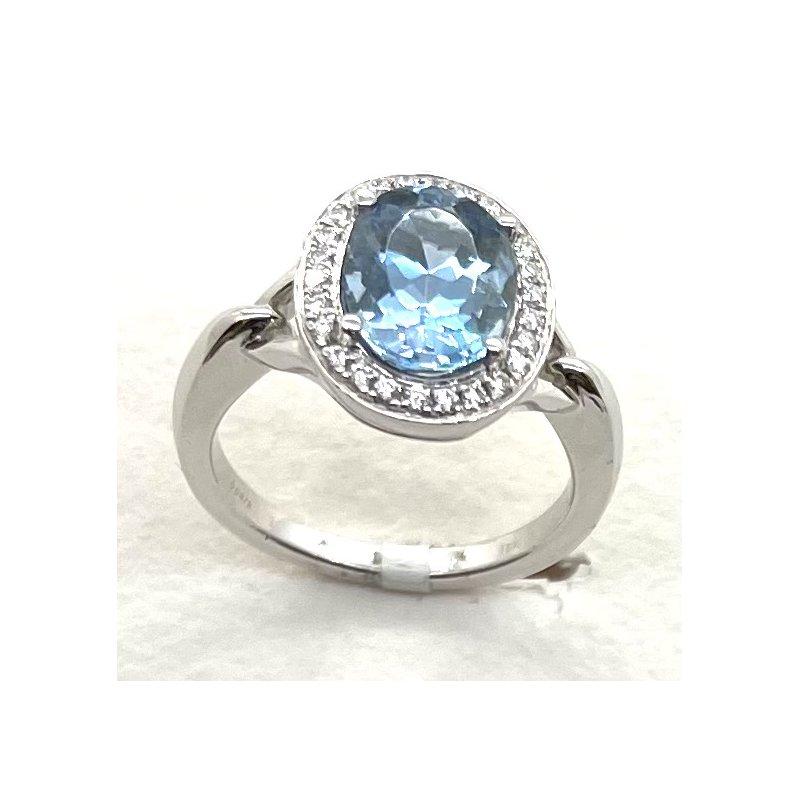 Spark Creations Aquamarine & Diamond ring