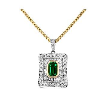 Emerald & Diamond Pendant Set