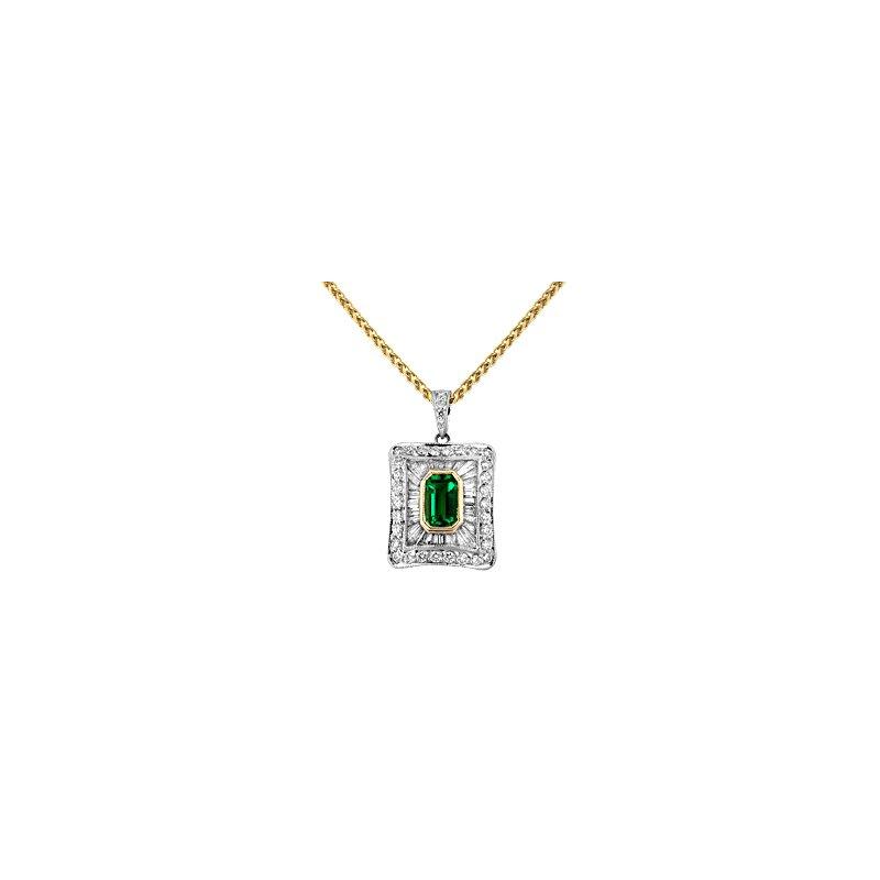 Spark Creations Emerald & Diamond Pendant Set