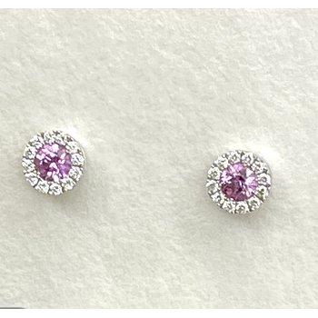 Pink Sapphire & Diamond Stud Earrings