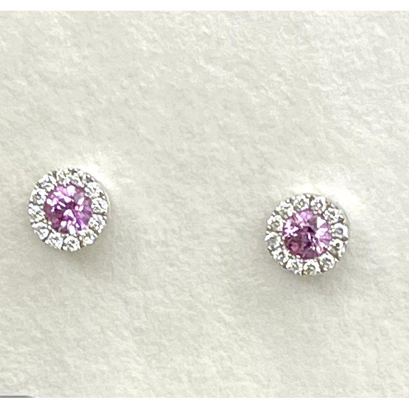 Spark Creations Pink Sapphire & Diamond Stud Earrings