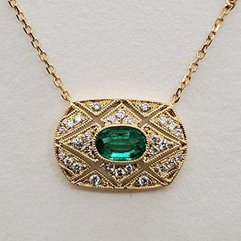 Emerald & Diamond deco pendant