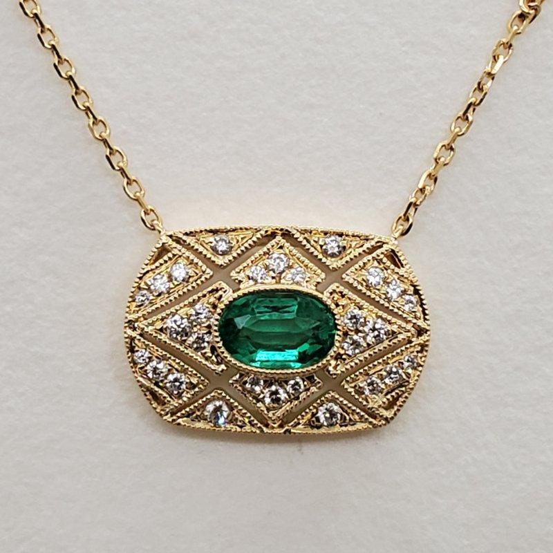 RMJ Signature Emerald & Diamond deco pendant