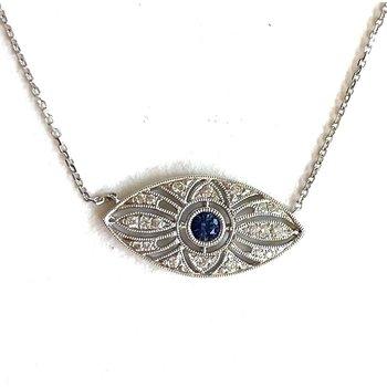 Sapphire & Diamond deco pendant