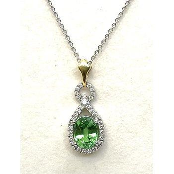 Mint Green Tsavorite & Diamond Pendant