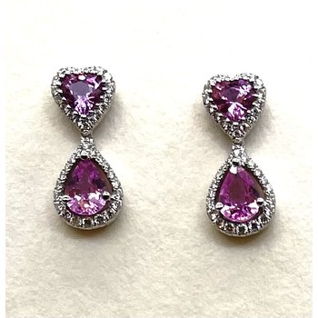 Pink Sapphire & Diamond Earrings
