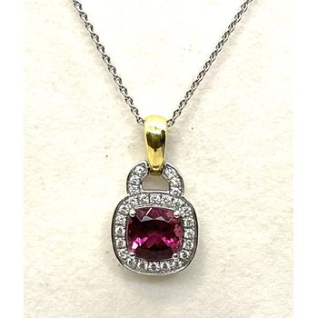 Pink Tourmaline & Diamond Pendant