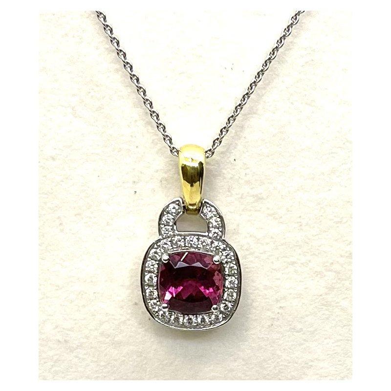 Spark Creations Pink Tourmaline & Diamond Pendant