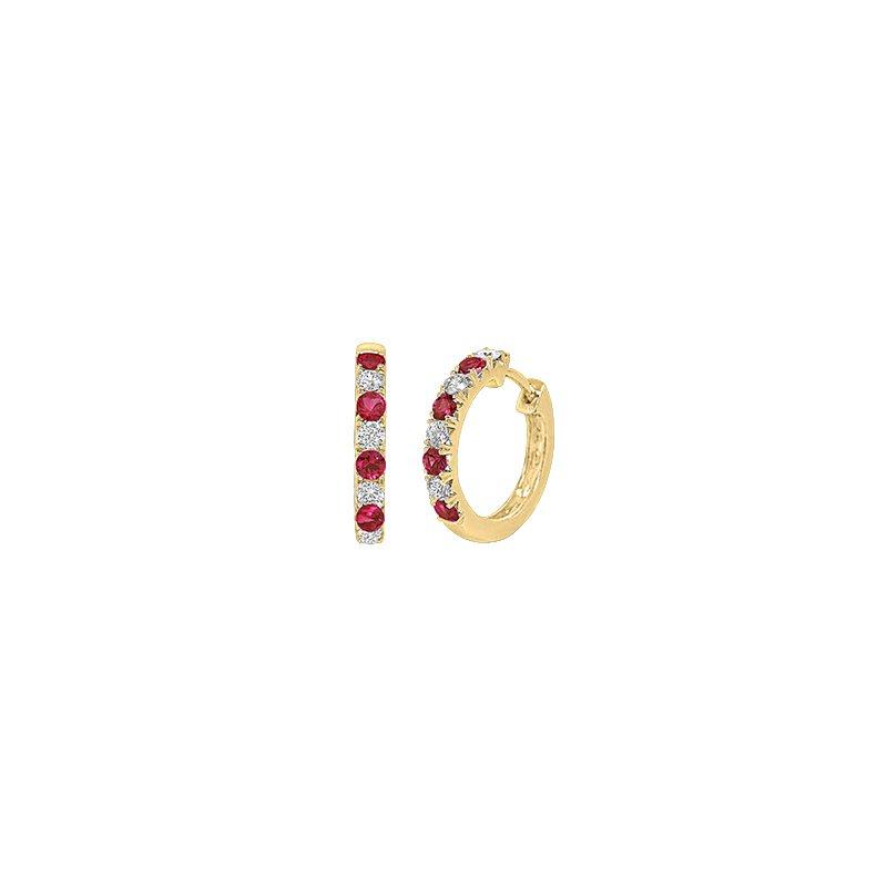 Spark Creations Ruby & Diamond hoop earrings