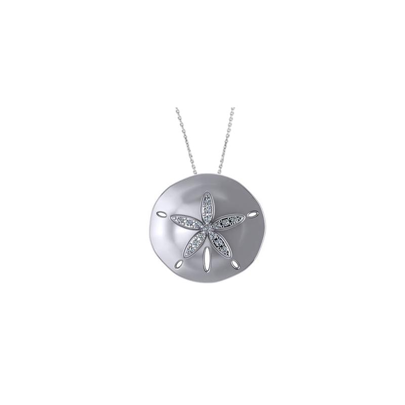 Diamond Palmetto Jewelry .16 ctw 14K White Gold Sandollar Necklace