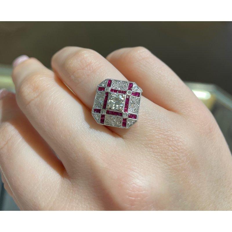 Gemstone Jewelry Ruby & Diamond Deco Ring