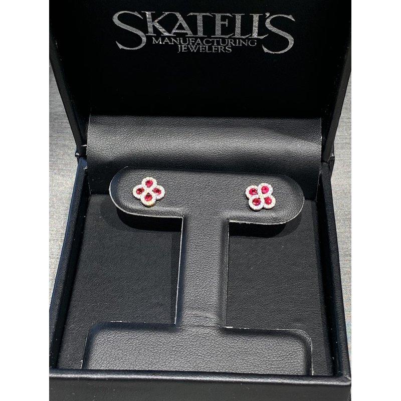 Gemstone Jewelry 14K White Gold Ruby and Diamond Earrings