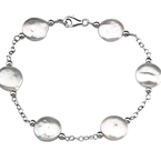 Pearl Jewelry Sterling Silver Coin Pearl Bracelet
